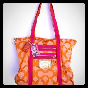 Coach Poppy OP Art Glam Tote Shoulder Bag